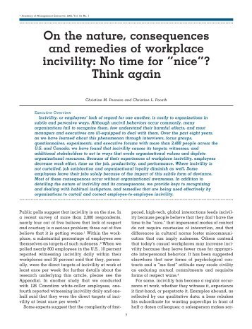 On the nature, consequences and remedies of workplace incivility ...