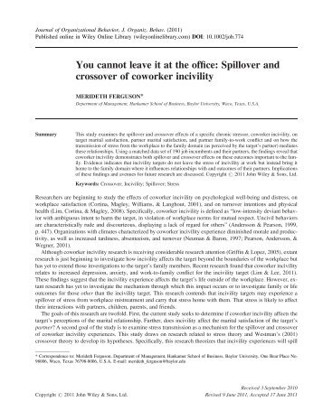 Spillover and crossover of coworker incivility - Laboratorio de ...