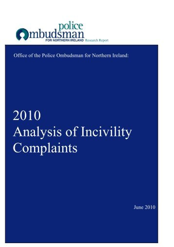 Incivility Report - Police Ombudsman for Northern Ireland