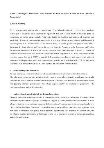 Relazione sui Beni Storici ed Archeologici - Comune di Orvieto