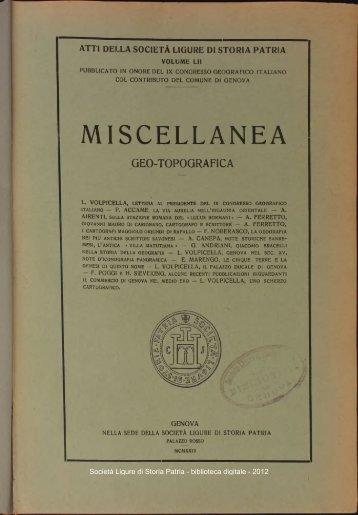 MISCELLANEA - Società Ligure di Storia Patria