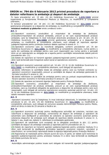 Ordinul nr. 794/2012 al ministrului mediului si padurilor privind ...