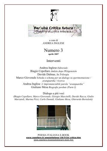 Numero 3 - Biagio Cepollaro, poesia