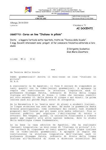 """AI DOCENTI OGGETTO: Corso on line """"Italiano in ... - Liceo G.Bruno"""