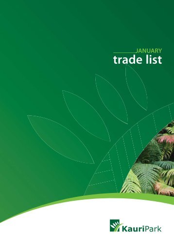 trade list - Kauri Park Nurseries