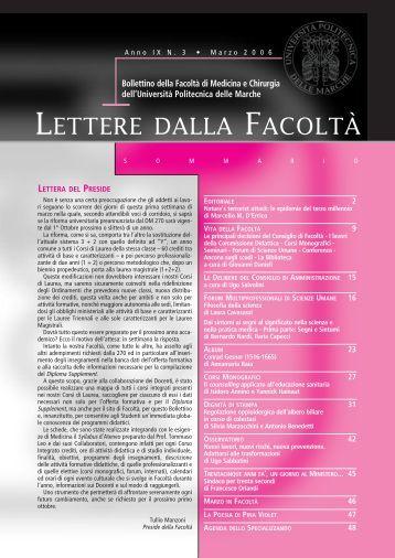 LETTERE 2006 03.pdf - Facoltà di Medicina e Chirurgia - Università ...
