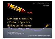 Difficoltà e Disturbi dell'Apprendimento - dott. Marco Vicentini