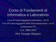 Notizie sul corso - Dipartimento di Ingegneria Informatica e delle ...