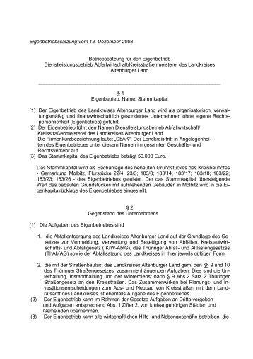 Eigenbetriebssatzung - Altenburger Land