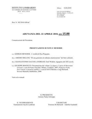 22 - Istituto Lombardo Accademia di Scienze e Lettere
