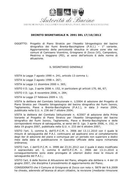 decreto segretariale n. 2991 del 17.10.2012 - Autorità di Bacino dei ...
