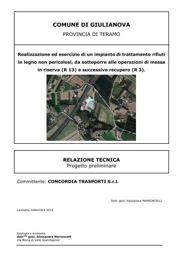 Relazione tecnica - progetto preliminare - Regione Abruzzo