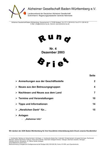 Nr. 4 Dezember 2003 - Alzheimer Gesellschaft Baden-Württemberg