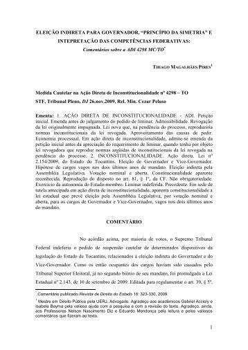 eleição indireta para governador - Luís Roberto Barroso & Associados