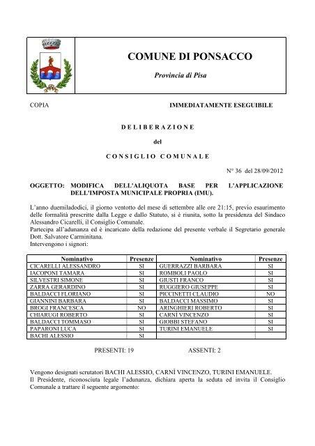 Delibera aliquote IMU n.36 28_09_2012.pdf - Comune di Ponsacco