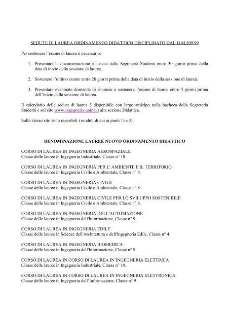 Calendario Esami Ingegneria Informatica Unina.Sedute Di Laurea Ordinamento Didattico Disciplinato
