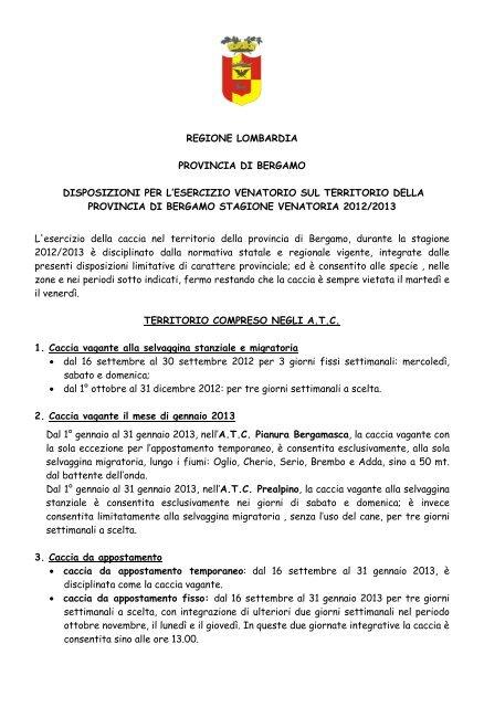 Calendario Venatorio Lombardia.Calendario Venatorio Della Provincia Di Bergamo 2012