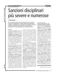 Sanzioni disciplinari più severe e numerose - Giurisprudenza
