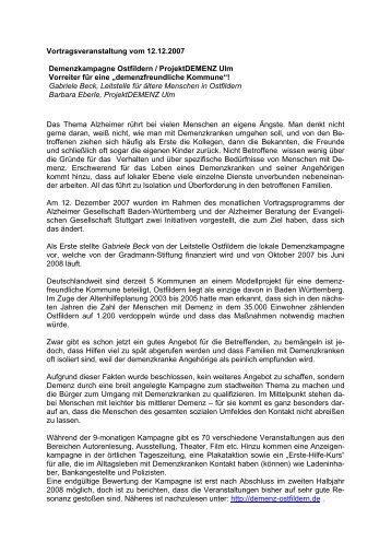 Demenzkampagne Ostfildern / ProjektDEMENZ Ulm – Vorreiter für ...