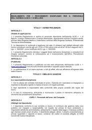 regolamento per i procedimenti disciplinari per il ... - ULSS Belluno
