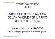 curricoli disciplinari - Istituto Comprensivo di Iseo