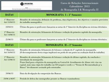 Calendário do TCC de Relações Internacionais 2013 - Unicuritiba