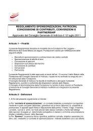 Regolamento sponsorizzazioni - Fondazione per Leggere