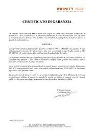 Certificato di garanzia NRG - Infinity NRG