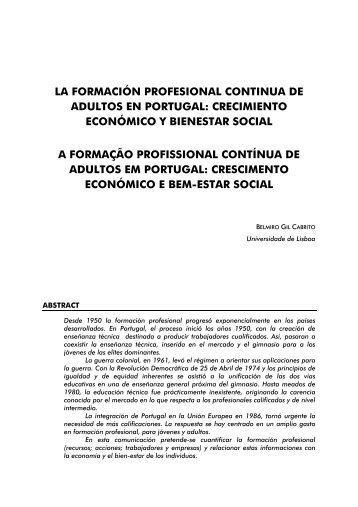 la formación profesional continua de adultos en portugal