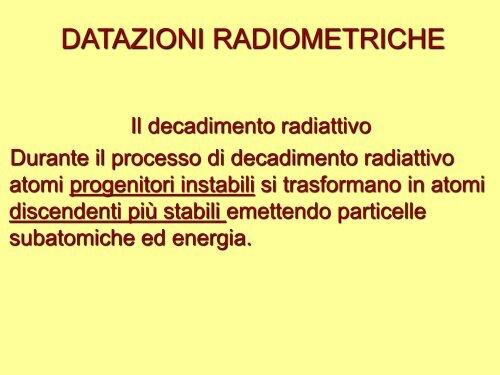 4 tipi di datazione radiometrica