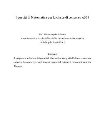 I quesiti di Matematica per la classe di concorso A059 - Mathesis
