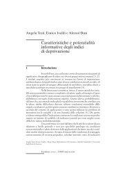 Caratteristiche e potenzialità informative degli indici di deprivazione