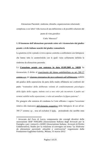 Pagina 1 di 25 Alienazione Parentale: sindrome, disturbo ... - Aiaf