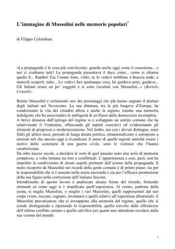 L'immagine di Mussolini nelle memorie popolari - Istituto Storico ...