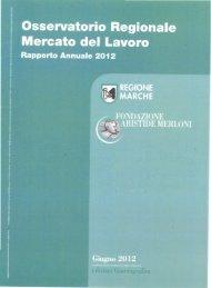 Rapporto Annuale 2012 - Istruzione Formazione Lavoro - Regione ...