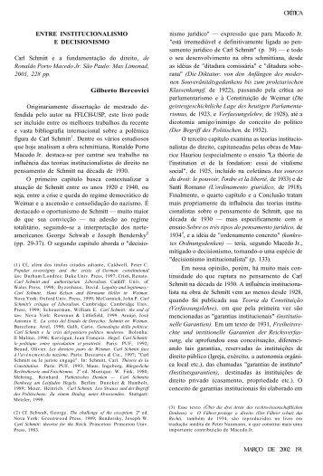 ENTRE INSTITUCIONALISMO E DECISIONISMO CRÍTICA Carl ...