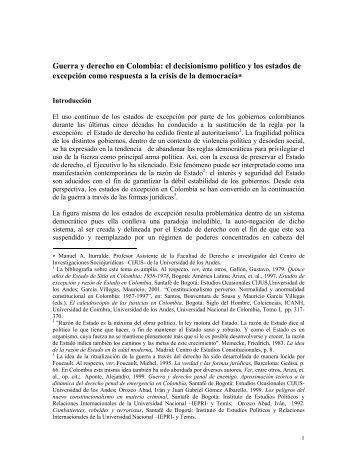 Guerra y derecho en Colombia: el decisionismo político y los ...