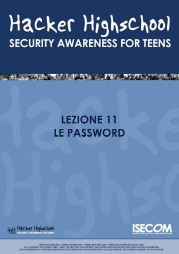 Lezione 11 - Le Password - Hacker Highschool