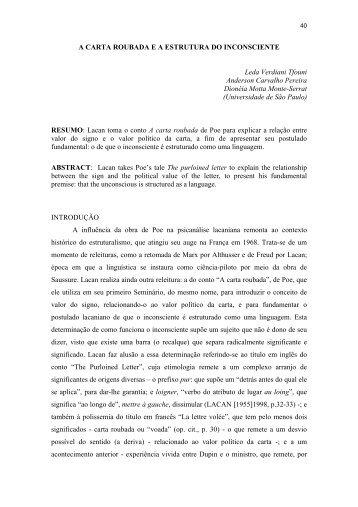 a carta roubada e a estrutura do inconsciente