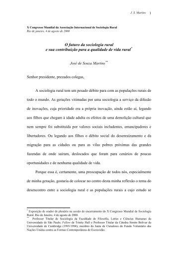 O futuro da sociologia rural e sua contribuição para a - UFCG