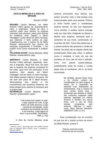 CECÍLIA MEIRELES E O JOGO DO IMPASSE Delvanir LOPES1 ...