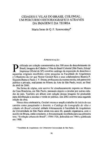 CIDADES E VILAS DO BRASIL COLONIAL: UM ... - ACUEDI
