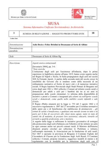 Asilo Decio e Felice Briolini in Desenzano al Serio - Comunità ...