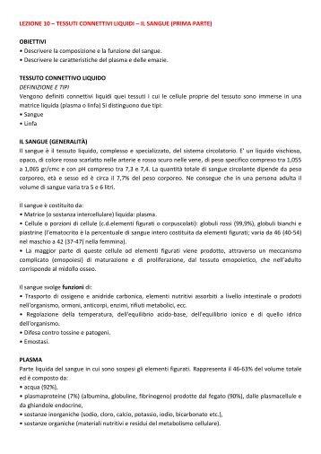 LEZIONE 10 – TESSUTI CONNETTIVI LIQUIDI – IL ... - life and fitness