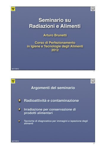 """Brunetti: """"Radiazione ed alimenti I"""" - Corso di Perfezionamento"""