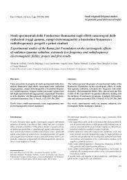 Studi sperimentali della Fondazione Ramazzini sugli effetti ...