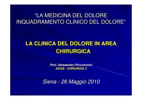 La clinica del dolore in area chirurgica