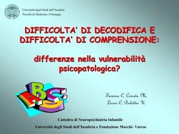 difficolta' di decodifica e difficolta' - Associazione Italiana Dislessia