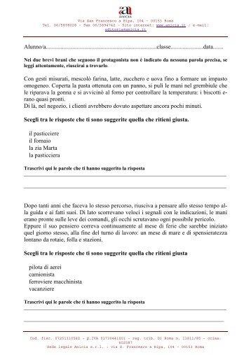 lettura e Comprensione lingua italiana - Scuolamarchiafava.it