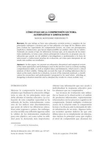 cómo evaluar la comprensión lectora: alternativas y limitaciones